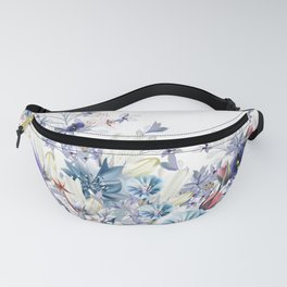 Light floral vector illustration with spring and summer field flowers  Fanny Pack