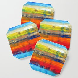 Horizon Blue Orange Red Abstract Art Coaster