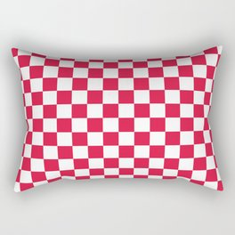 White and Crimson Red Checkerboard Rectangular Pillow
