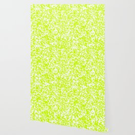 Small Spots - White and Fluorescent Yellow Wallpaper