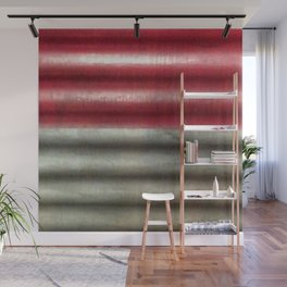 Industrial Wall | Red Grey Striped Wall | Contemporary Art Wall Mural