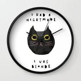 Blonde cat / poster, cat, art print, pictures, scandinavian, nursery, deco, family, art, animal, cat Wall Clock