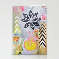 "flora bowley Stationery Cards featuring ""Intermix"" Original Painting by Flora Bowley by Flora Bowley"