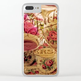 Teacup and Roses 3 Clear iPhone Case