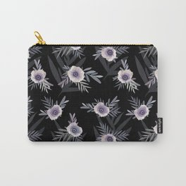 Floral pattern with anemone flowers, romantic print black background Carry-All Pouch
