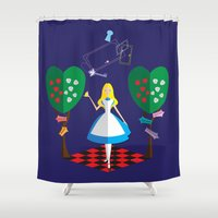 alice in wonderland Shower Curtains featuring Wonderland by AmadeuxArt