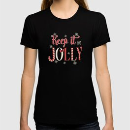 Keep It Jolly Cute Santa Hat Christmas Snowflakes T-shirt