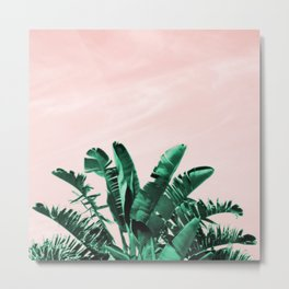 Turquoise Banana and palm Leaves Metal Print