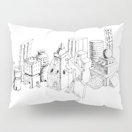 cubes and balls in the city . Art Pillow Sham