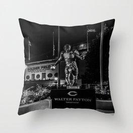 Walter Payton Statute at night Throw Pillow