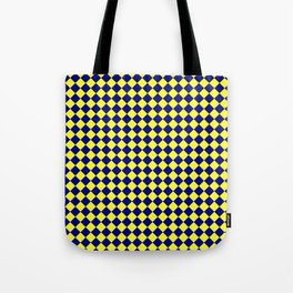 Electric Yellow and Navy Blue Diamonds Tote Bag