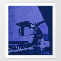 Black and Blue Turntable Art, Put the Needle on the Record! Art Print