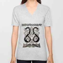 Old norse design - Two Jellinge-style entwined beasts originally carved on a rune stone in Gotland. Unisex V-Neck