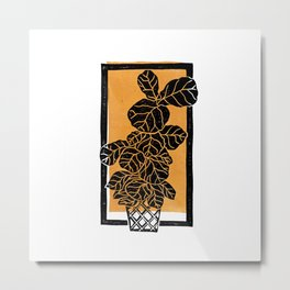 Fiddle Leaf Fig Block Print (Orange) Metal Print