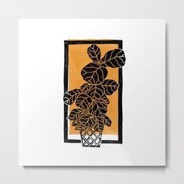 Fiddle Leaf Fig Block Print (Orange) Metal Print