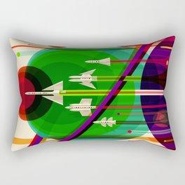NASA Outer Space Saturn Shuttle Retro Poster Futuristic Explorer Rectangular Pillow