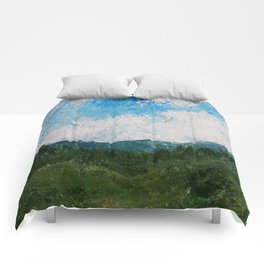 A Forest Under Blue Skies Impasto Painting Comforters