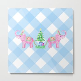 Enchanted Elephants - Christmas Metal Print
