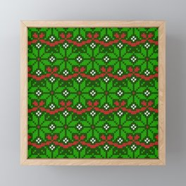 Festive knitted snowflake motif pattern in green & red Framed Mini Art Print