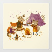 fall Canvas Prints featuring Critters: Fall Camping by Teagan White