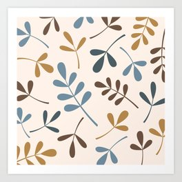 Assorted Leaf Silhouettes Blues Brown Gold Cream Art Print
