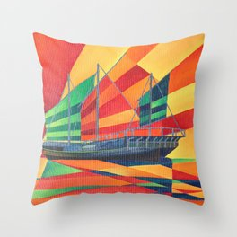Sail Away Junk Pleasure Boat Throw Pillow