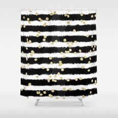 Modern black watercolor stripes chic gold confetti Shower Curtain