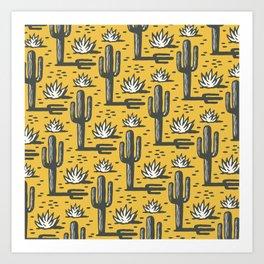 Desert Cactus Pattern 325 Yellow Art Print