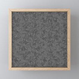 Modern Farmhouse Gray Damask Print Flower Vine on Weathered Background Framed Mini Art Print