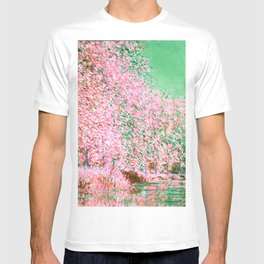 Monet : Bend in the River Epte 1888 Pink Green T-shirt