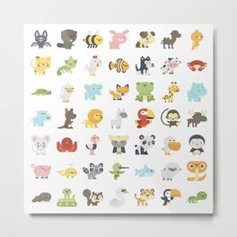 CUTE BABY ANIMAL PATTERN Metal Print