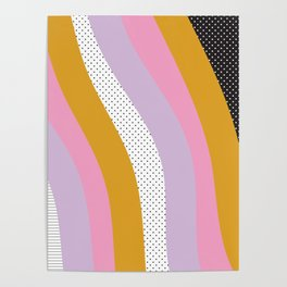 Abstract Print - Mixed Colors and Patterns Wavy Lines Poster