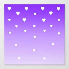 Purple Ombre with White Hearts Canvas Print