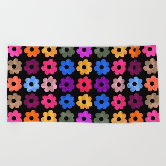 Colorful Floral Pattern III Beach Towel