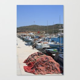 Red Fishing Net and Fishing Boats in Datca Canvas Print