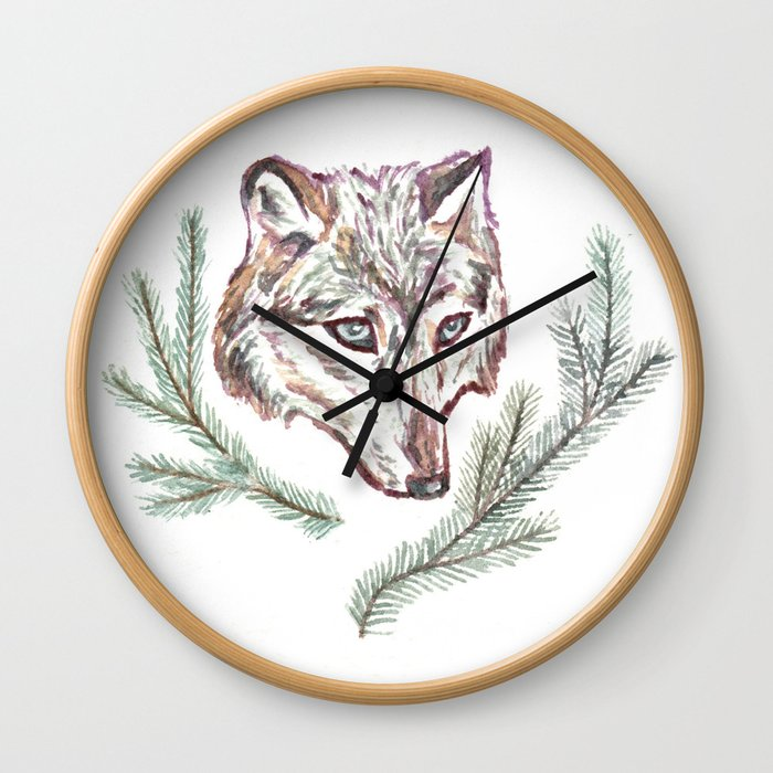 Wolf and Pine Branches Wall Clock