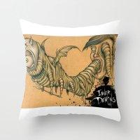inner demons Throw Pillows featuring Inner Demons by Nash Gottfried