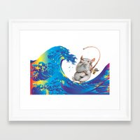 hokusai Framed Art Prints featuring Hokusai Rainbow & Hippopotamus Fishing  by FACTORIE