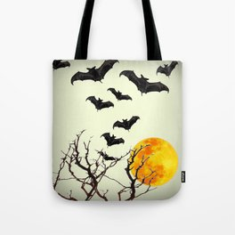 GOTHIC HALLOWEEN FULL MOON BLACK FLYING BATS DESIGN Tote Bag