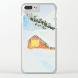winter. house with tree Clear iPhone Case