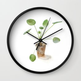Pilea. Chinese money plant. Wall Clock