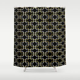 Black White and Gold Octagonal interlocking shapes Shower Curtain