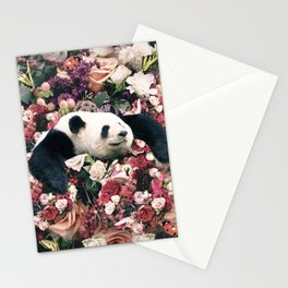 Cute Floral Panda Flower Stationery Cards