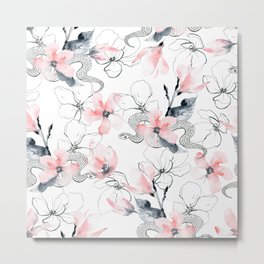 Pink flowers and snakes pattern Metal Print