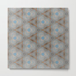 Beige and Blue Contemporary Tribal Pattern Metal Print