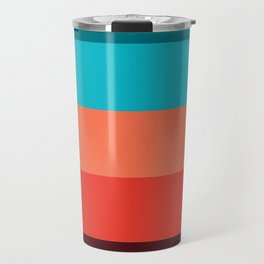 Exotic bright colorful Bohemian Chic teal burgundy Turquoise Orange Stripes Travel Mug