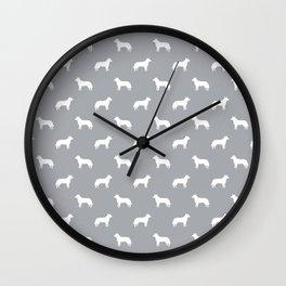 Australian Cattle Dog silhouette pattern portrait dog pattern grey and white Wall Clock