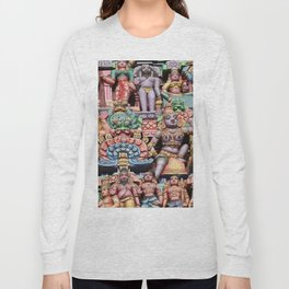 India Hinduism multicolored Temple Design Long Sleeve T-shirt