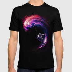 Space Surfing Black Mens Fitted Tee MEDIUM