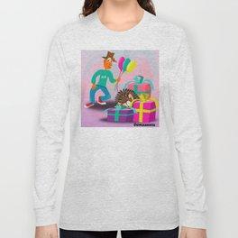 Mr. Orange and Spin on a happy birthday cartoon Long Sleeve T-shirt
